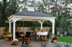 10x14' Traditional White Vinyl Pavilion with Asphalt Shingles