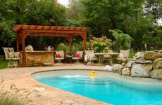 10x14' Traditional Wood Pergola in Canyon Brown Stain