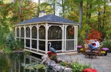 10x20' Rectangular Baroque Style Ivory Vinyl Gazebo with Screens & Cupola