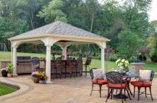 12x12' Traditional Ivory Vinyl Pavilion with Asphalt Shingles and 10