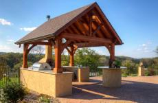 12x14' Alpine Cedar Wood Pavilion in Canyon Brown Stain with Asphalt Shingles