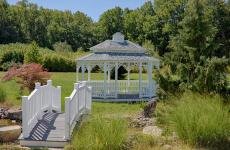 12x16' Oval Colonial Style White Vinyl Gazebo with Victorian Braces, Pagoda Roof and Cupola