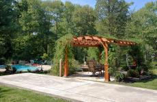 12x17' Hearthside Pergola in Canyon Brown Stain with Superior Posts