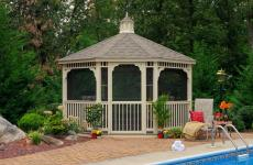 14' Octagonal Colonial Style White Vinyl Gazebo with Pagoda Roof, Cupola, Victorian Braces and Turned Posts