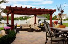 14x14' Artisan Hemlock Pergola in Mahogany Stain with Custom Superior Posts