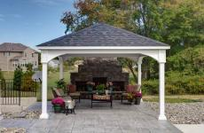 14x14' Traditional White Vinyl Pavilion with Asphalt Shingles