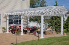 "14x20' Arcadian White Vinyl Pergola with 10"" Round Posts"