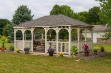14x20' Rectangular Country Style Ivory Vinyl Gazebo