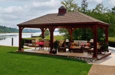 14x24' Traditional Wood Pavilion in Mahogany Stain with Cupola and Asphalt Shingles