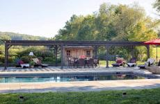 14x48' Traditional Wood Pergola in Cinder Stain