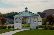 16' Octagonal Country Style White Vinyl Gazebo with 5x5 Posts, Metal Roof and Cupola