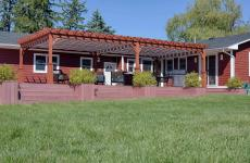 16x32' Traditional Wood Pergola in Canyon Brown Stain with Superior Posts and EZ-Shade Canopy