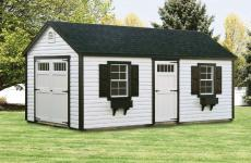 Vinyl a-frame storage shed with double end doors, one side door, and two windows
