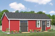 Wooden a-frame storage shed with double doors, a single door and two windows