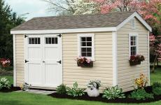 Vinyl a-frame storage shed with double doors and two windows