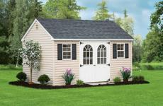 Vinyl cape cod storage shed with two windows and double steel slab doors