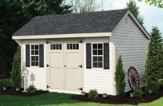 Vinyl Quaker-style Storage Shed with double doors and two windows