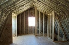 Second floor of Dutch Barn style Storage Shed.