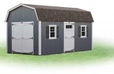 Wooden Dutch Barn style storage shed with double doors, man door and two windows