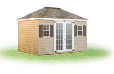 vinyl hip roof storage shed with double glass doors and two windows