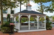 10x14' Colonial Style White Vinyl Gazebo with Turned Posts, Rubber-Slate & Custom Cupola