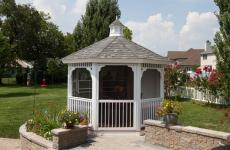 12' Octagonal Country Style White Vinyl Gazebo with Cupola, Pinnacle Roof & Screens
