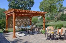 12x12' Traditional Wood Pergola in Canyon Brown Stain with EZ-Shade Side Curtain