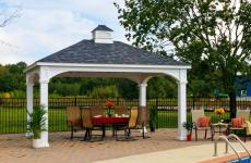 12x16' Traditional White Vinyl Pavilion with Asphalt Shingles and 8x8