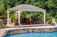 12x18' Traditional Ivory Vinyl Pavilion with Asphalt Shingles and 8x8