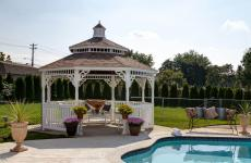 14' Country Style Ivory Vinyl Gazebo with Cupola and Screens