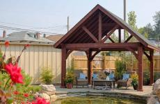 14x14' Alpine Cedar Wood Pavilions in Mahogany Stain with Asphalt Shingles
