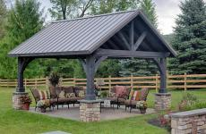 14x16' Alpine Cedar Wood Pavilion in Cinder Stain with Custom Pitch Metal Roof