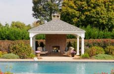 14x16' Traditional White Vinyl Pavilion with Asphalt Shingles and 10