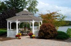 16' Octagonal Country Style White Vinyl Gazebo with 5x5 Posts, Pagoda Roof and Cupola
