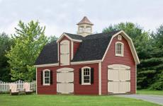 Vinyl Two story shed with arched wooden double doors, a dormer with a second story door, and a cupola