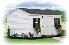 Vinyl a frame storage shed with double doors and two windows