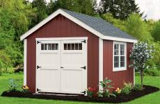 Wooden cape cod storage shed with double doors with transom windows and two windows