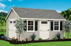 Vinyl Storage shed with one set of double doors, one single door, two windows, and gable vents