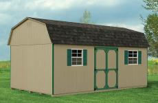 Wooden Dutch Barn style storage shed with double door and two windows