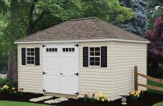 Vinyl hip roof shed with double steel slab doors and two windows