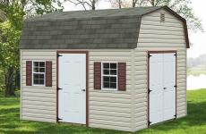 Vinyl Dutch Barn style storage shed with double doors, man door and two windows