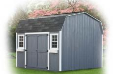 Wooden Dutch Barn style storage shed with double doors and two windows