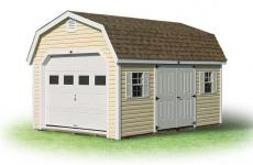 Vinyl Dutch Barn style Garage with side double doors, two windows, and gable vents