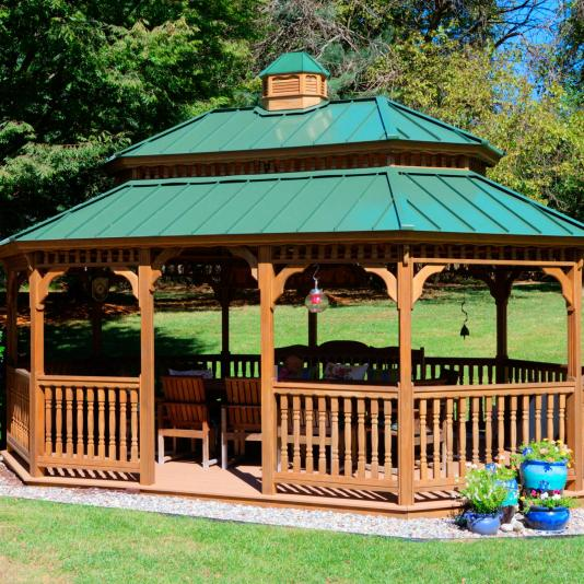 14x20' Oval New England Style Gazebo with Pagoda Roof, Cupola and Metal Roof