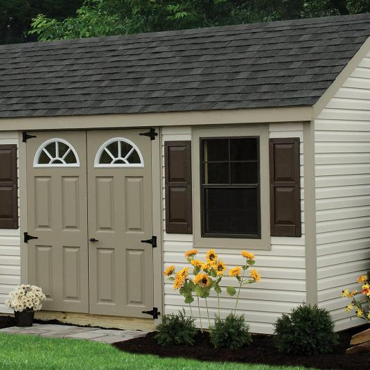 A vinyl Cape Cod Shed.