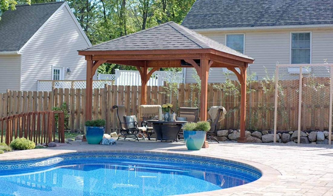 12x12' Traditional Wood Pavilion in Canyon Brown Stain with Asphalt Shingles