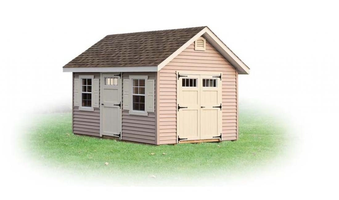 Vinyl a frame storage shed with double doors, side door, two windows and gable vents