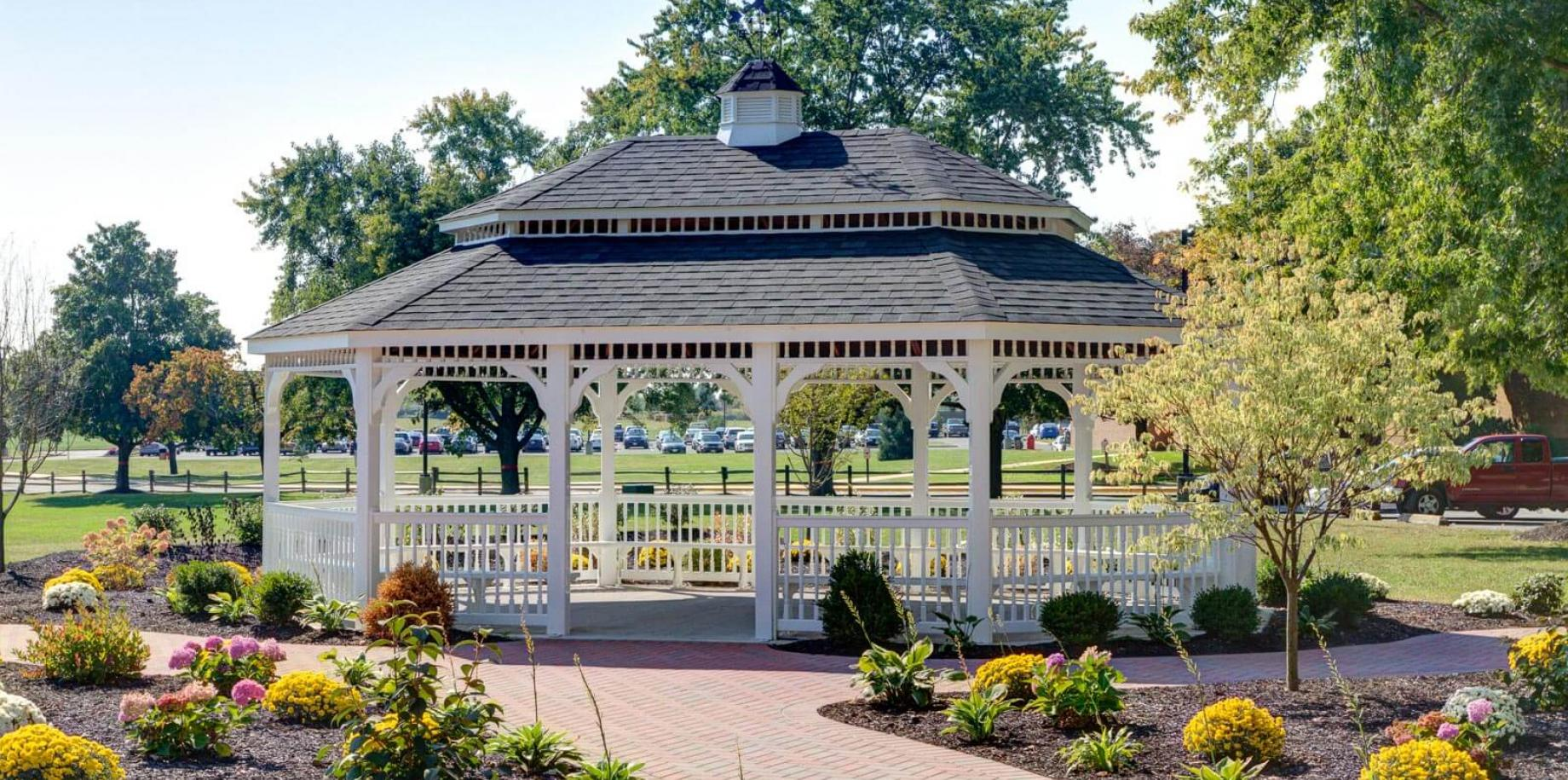 20 x 28 foot oval white vinyl gazebo