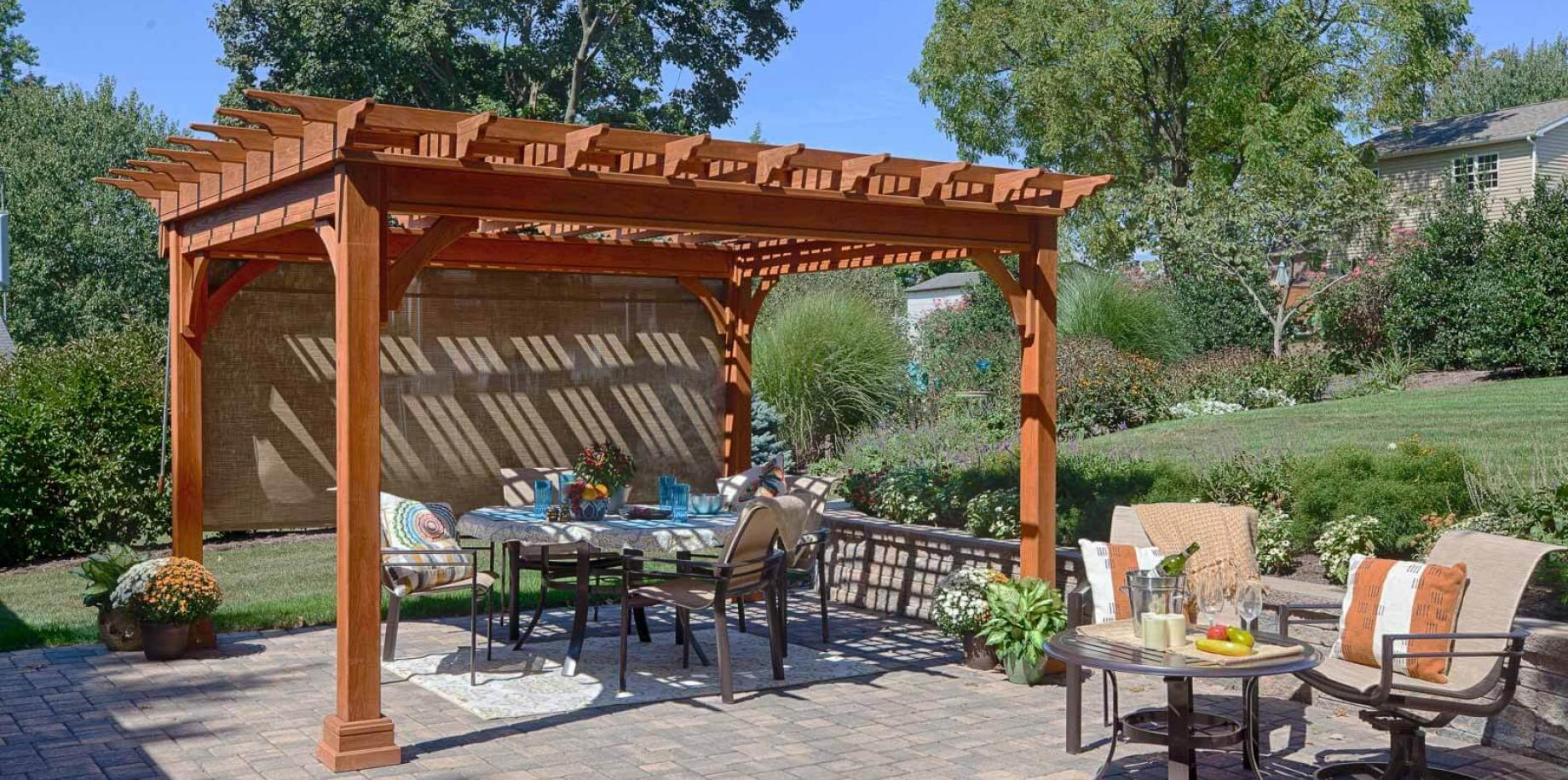 Traditional Wood Pergola in Canyon Brown Stain