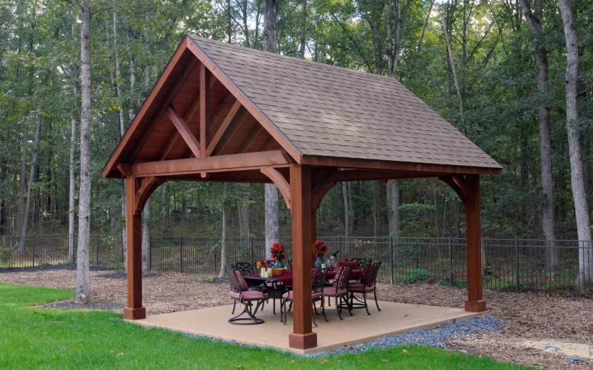 10x14' Cedar Wood Pavilion in Canyon Brown Stain with Asphalt Shingles